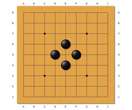 这样一来,中央的白棋就被吃掉了。