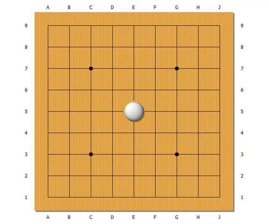 中央有一颗白棋,那么从这颗白棋出发可以做出几根线呢?