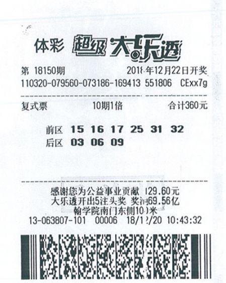 男子百元自选号中大乐透645万 全家旅游庆祝-票