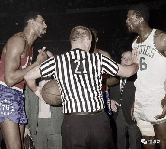 Image result for wilt chamberlain bill russell fight