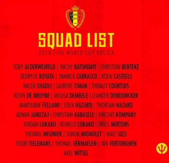 比利时队公布的是参加2018世界杯的28人初选名单: