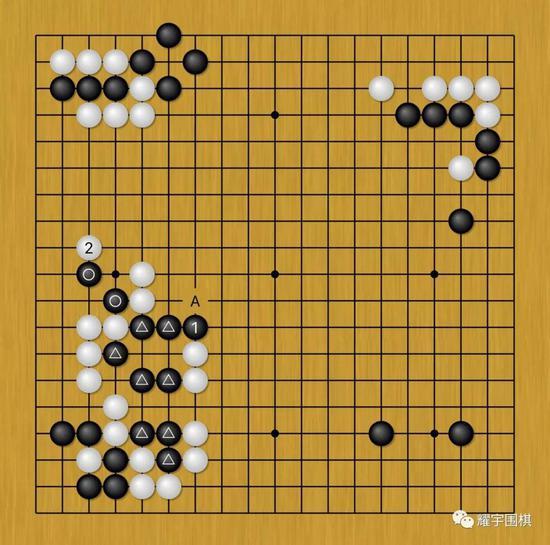 图6:黑1压是为了救黑三角大块,不然白A位一枷,黑三角大块就完了。