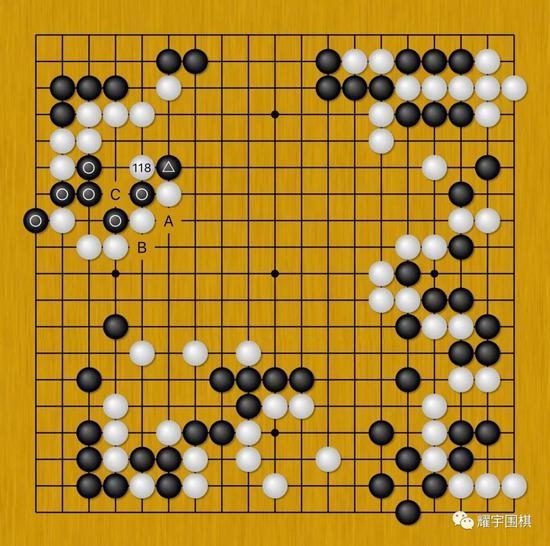 图16:黑117(三角)连扳时,由于之前黑没做A和B的交换,白118可先打吃黑棋。