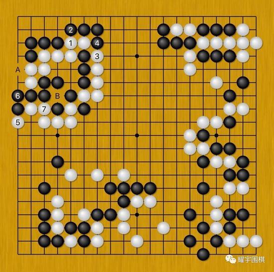 图14:白1粘上很严厉,以下至白7,黑还吃不掉白左上8子。