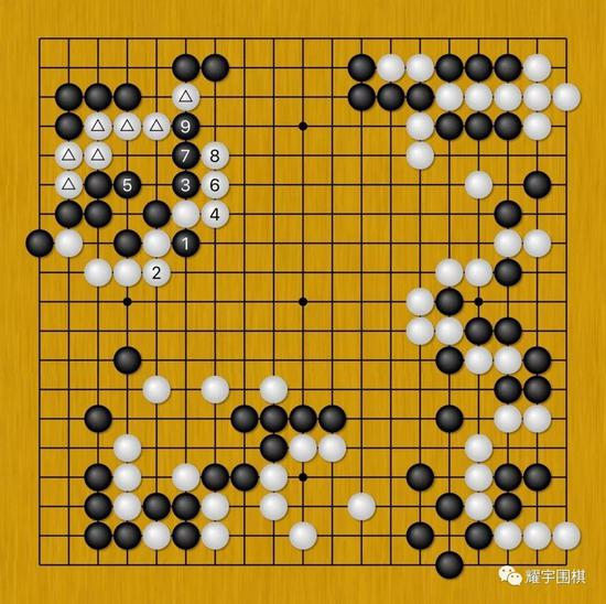 图13:黑1必须先打一下与白2先手交换,这样才能确保黑3可以打吃着出头。
