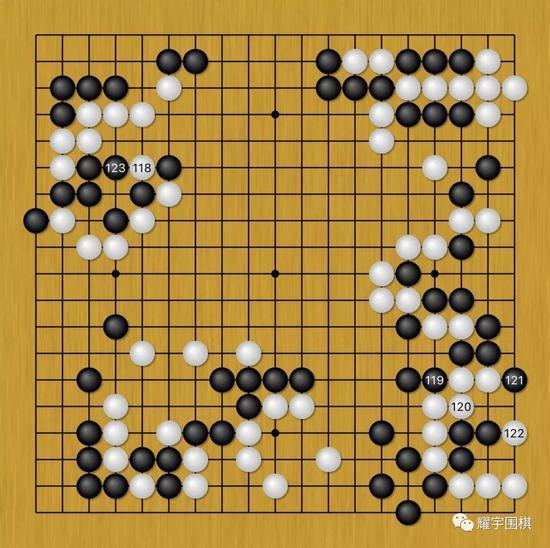 图17:陈耀烨先黑119、121在右下造更大的劫材,然后黑123强行撑个劫出来!