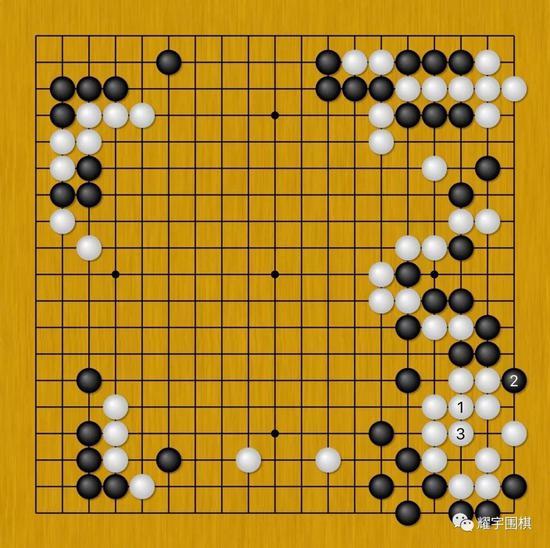 图7:接图6,白1提三子,黑2一路扳是先手,白3做活。
