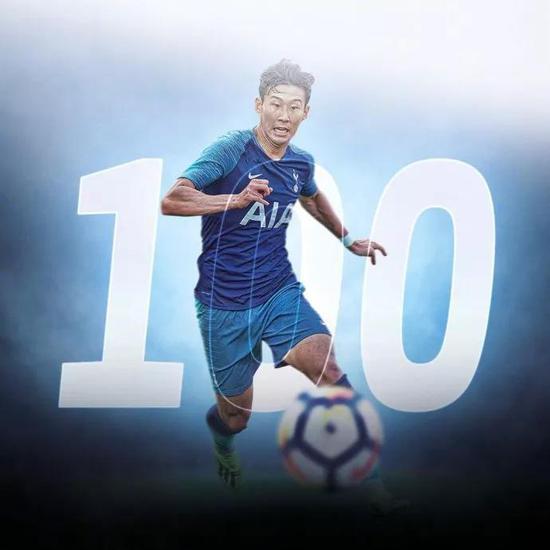 孙兴慜已代表热刺在英超出场100次,打进30球并有13次助攻
