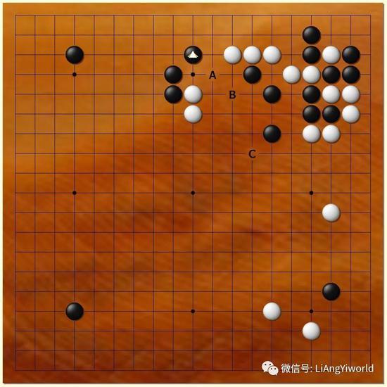 此时(黑33后),白可能有A-C的选点,哪个将是星阵的第一选择呢?