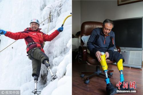 资料图:夏伯渝第一?#38395;?#30331;珠峰就失去了双脚。 图片来源:大燕网/视觉中国