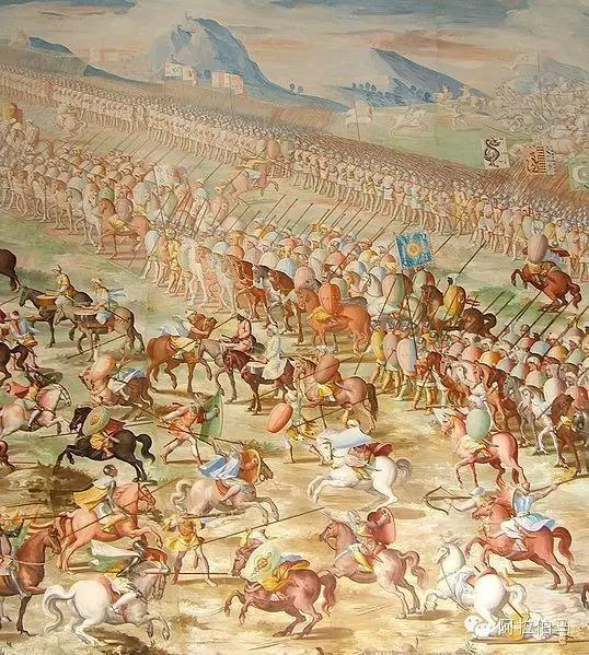 1431年西班牙抵抗摩尔人的La Higueruela之战,其中可见阿拉伯战马