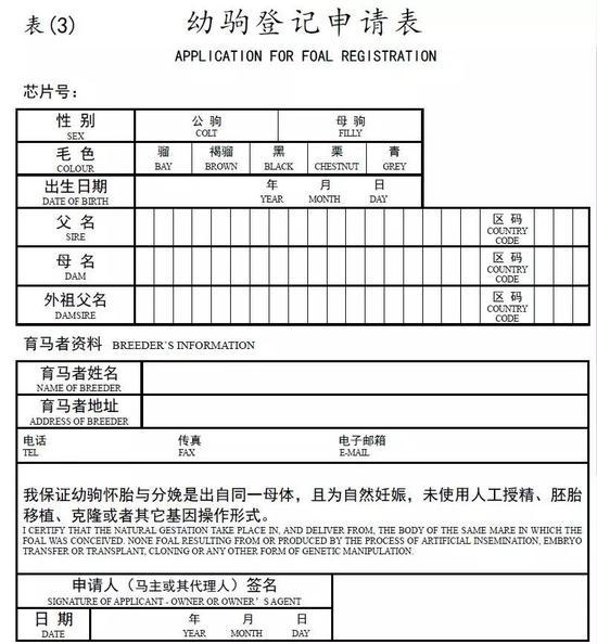 申请马匹登记需要填写的表格