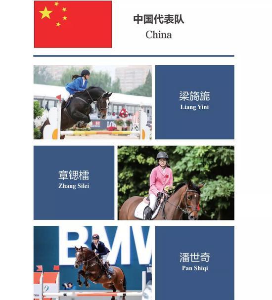 中国青少年骑手参加国际马联(FEI)青少年马术场地障碍赛