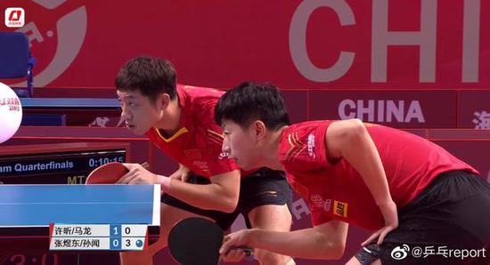 模拟赛男子一团3-0胜出 马龙许昕樊振东晋级四强