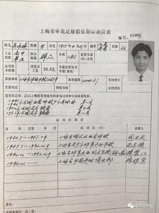 吴承瑛的球员登记表工资73.5元