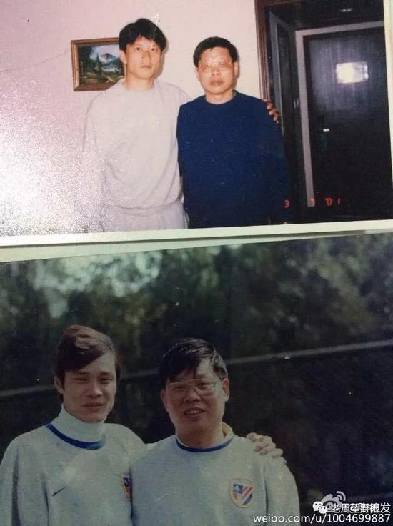 张德发和申花老队员吴兵、范志毅的合影(图片来自张德发微博)
