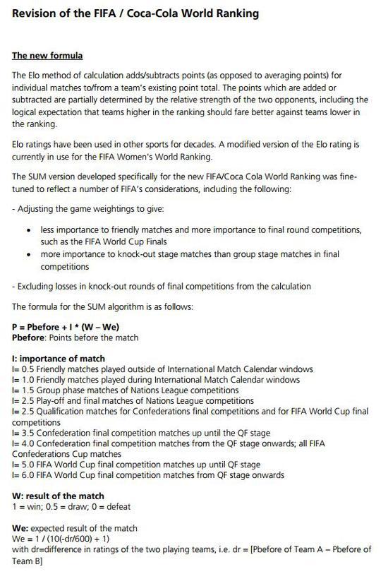 详解国际足联新国家队排名算法 更科学在哪里?