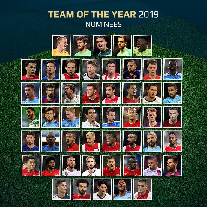 年度最佳阵容候选:梅罗领衔 利物浦10人当选