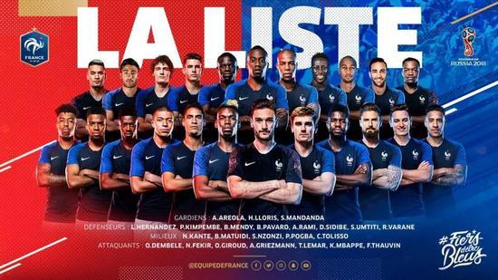 法国队公布的是参加2018世界杯的23人名单: