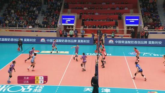 江苏女排三名拦网队员都偏向于天津女排四号位一侧