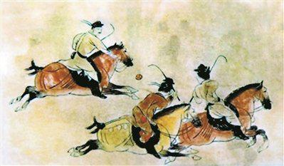 这幅画作描绘了古人进行马球赛的激烈场面