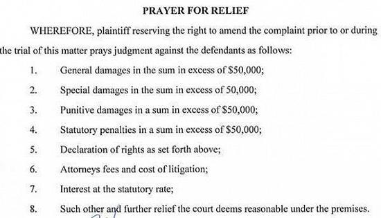 起诉书最后展示的马约尔加要求的累积超过20万美元的赔偿