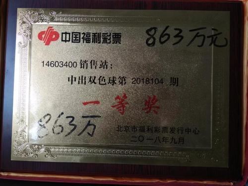 863万双色球的中奖奖牌