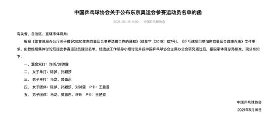 国乒奥运参赛名单出炉 创新举措保证公平公正公开