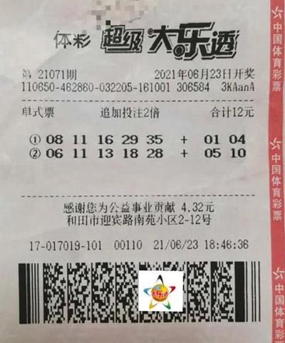新疆男子12元中大乐透2263万 以冷制热选号有奇效