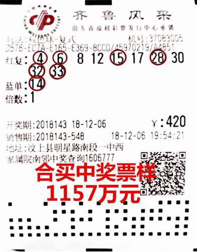全城中奖!济宁众彩友合买擒双色球1157万-票