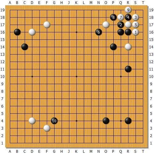 变化图1:当时思考了一下点角的变化,认为这样白棋速度有点慢,不能接受。
