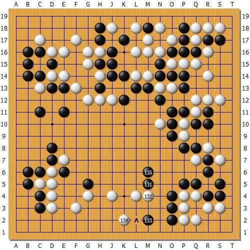 实战图8:黑棋131飞小有问题,如在A位大跳目数当优于实战。