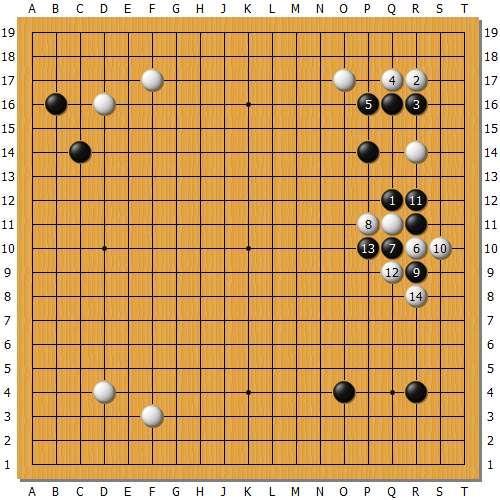 变化图3:黑棋内板的反击是我最想看到的,如此黑棋大亏。