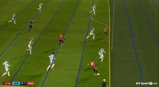足总杯曼联对哈镇的比赛上,这条标明越位的线竟不是直线,一时间导致举座哗然