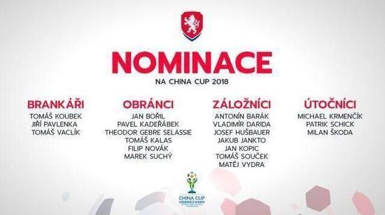 捷克队公布中国杯大名单
