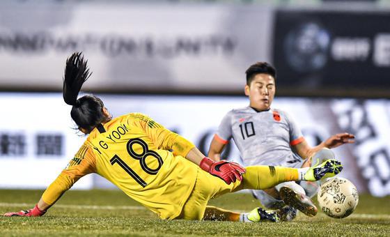 王霜伤退 中国女足0-0韩国女足