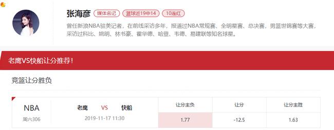 [新浪球通]张海彦篮彩推荐:老鹰vs快船