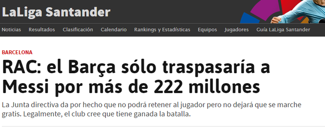加媒:若梅西转会费超2.22亿欧 巴萨会同意放人