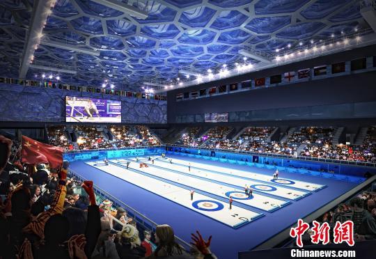 """图为""""冰立方""""内部比赛大厅凶果图。 国家游泳中心供图"""