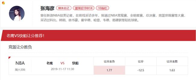 [新浪球通]张海彦竞彩篮球推荐:老鹰vs快船