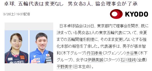 日本乒协理事会:奥运阵容不会变 伊藤张本领衔