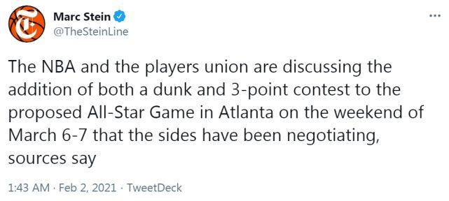 不顾疫情?NBA讨论全明星照常办三分+扣篮大赛