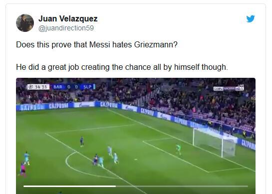 网友议论:这球说明,梅西讨厌格列兹曼?