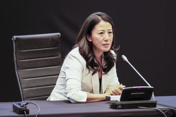 11月7日,杨扬在当选世界反兴奋剂机构副主席后发表讲话。新华社记者周楠摄