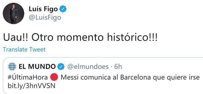 """巴萨昔日贰臣评梅西转会 菲戈:""""又""""一历史时刻"""