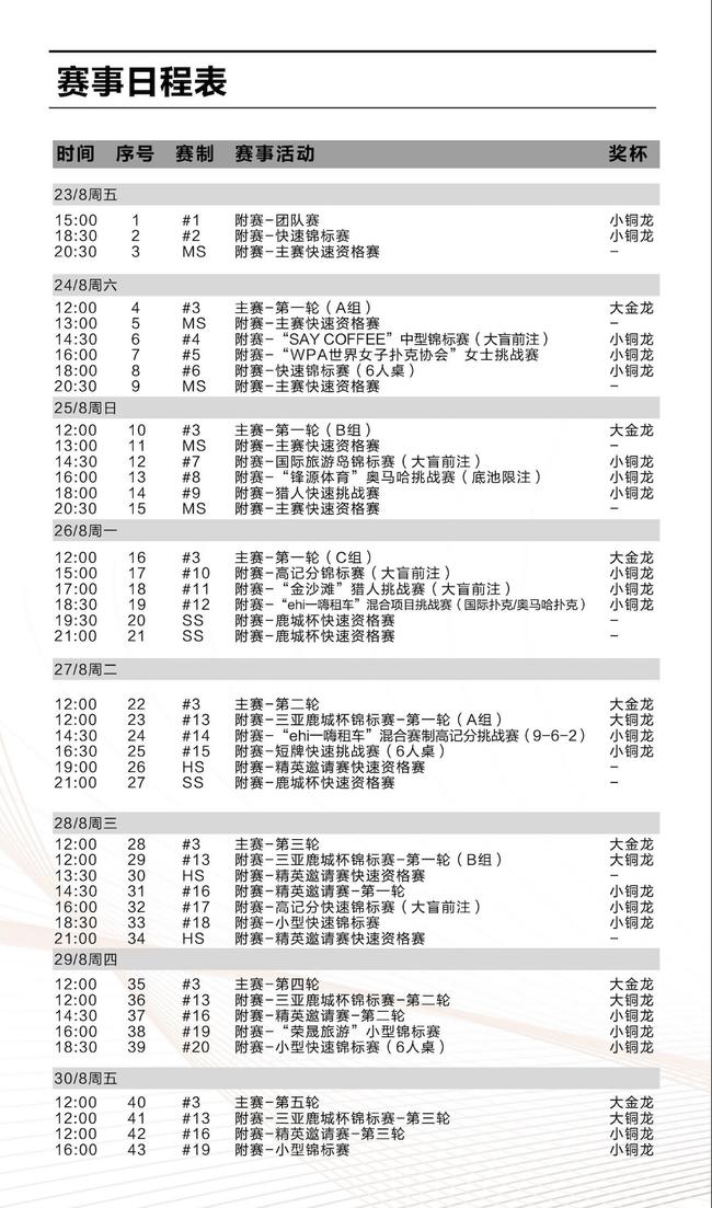 赛事日程表