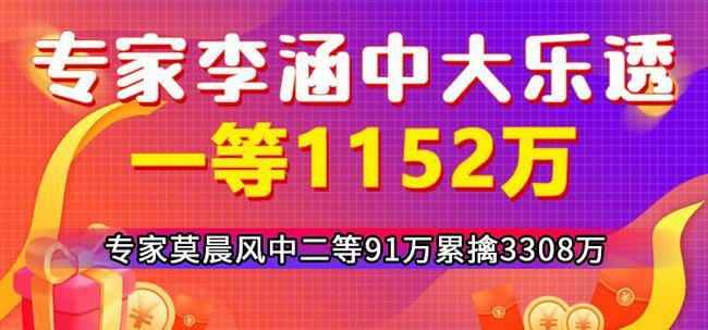 专家李涵中大乐透1等1152万 莫晨风中二等91万