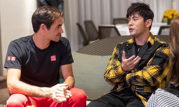 高清-上海赛周杰伦昆凌和费德勒会面