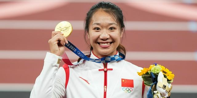 田徑女子標槍頒獎儀式 劉詩穎獲金牌