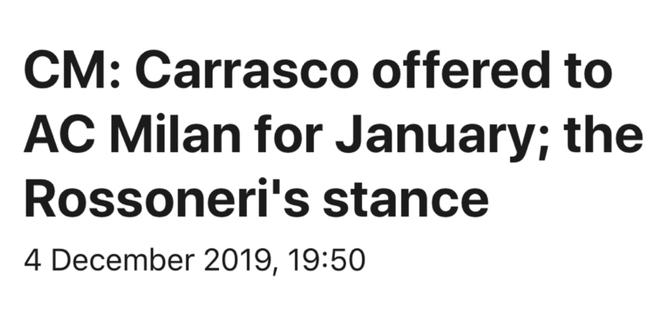 卡拉斯科被推荐给米兰